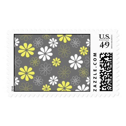 Grey and Yellow Flower Pattern Postage