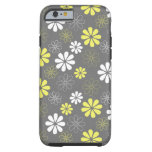 Grey and Yellow Flower Pattern Tough iPhone 6 Case