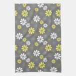 Grey and Yellow Flower Pattern Towel