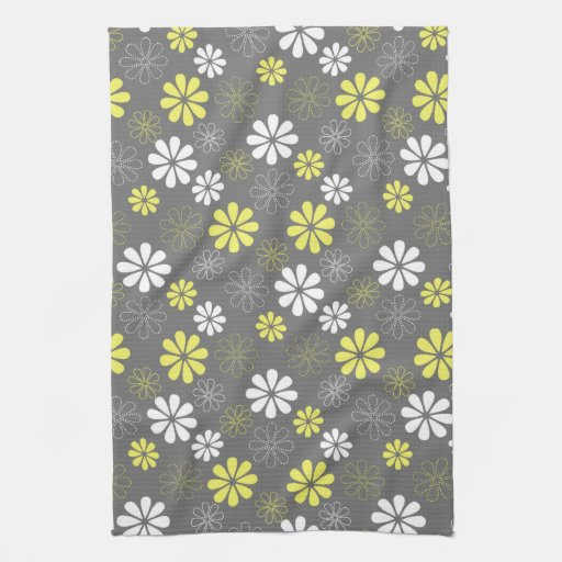 Grey Dish Rags: Grey And Yellow Flower Pattern Towel