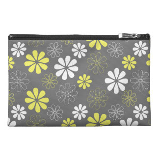 Grey and Yellow Flower Pattern Travel Accessory Bag