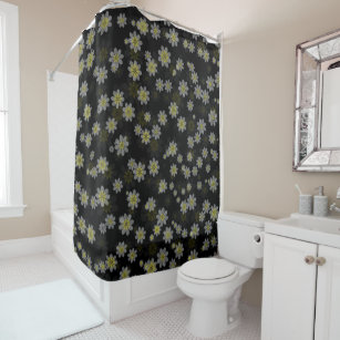 Grey And Yellow Flower Shower Curtain