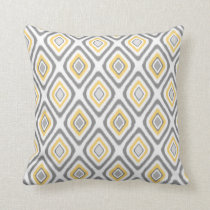Grey and Yellow Ikat Diamond Pattern Throw Pillow