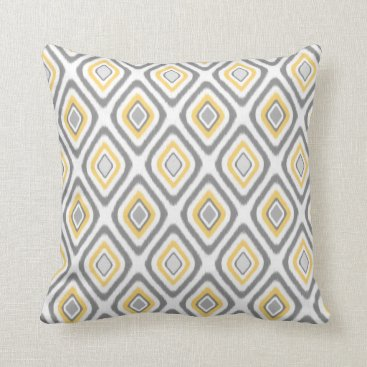 DoodlesGiftShop Grey and Yellow Ikat Diamond Pattern Throw Pillow