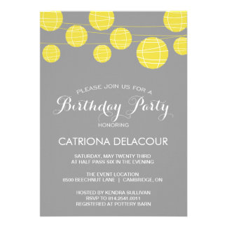 GREY AND YELLOW LANTERNS BIRTHDAY PARTY INVITATION