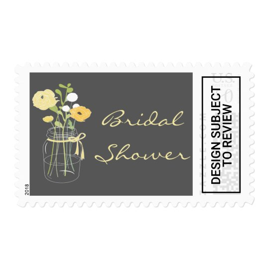 grey and yellow mason jar bridal shower stamps