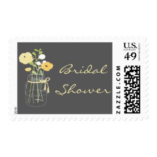 Grey and Yellow Mason Jar Bridal Shower Stamps