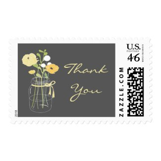 Grey and Yellow Mason Jar Thank You Stamps