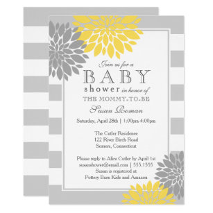 Yellow and grey baby shower invitations announcements zazzle grey and yellow modern flower baby shower invitation filmwisefo