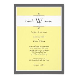 Grey and Yellow Monogram Wedding Invitations