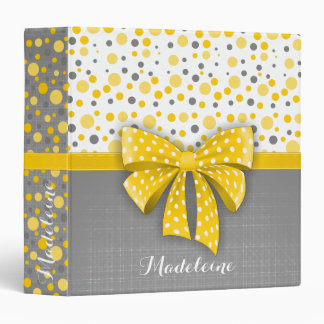 Grey and Yellow Polka Dots, Sunny Yellow Ribbon 3 Ring Binder