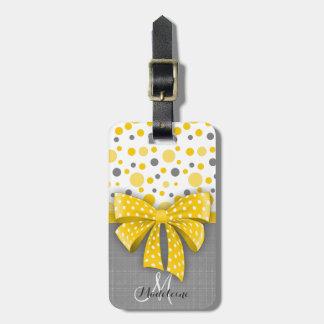 Grey and Yellow Polka Dots, Sunny Yellow Ribbon Bag Tag