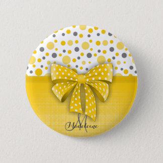 Grey and Yellow Polka Dots, Sunny Yellow Ribbon Button