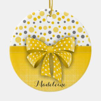 Grey and Yellow Polka Dots, Sunny Yellow Ribbon Ceramic Ornament