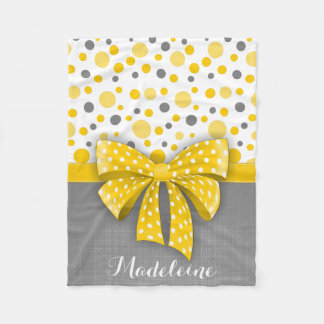 Grey and Yellow Polka Dots, Sunny Yellow Ribbon Fleece Blanket