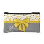 Grey and Yellow Polka Dots, Sunny Yellow Ribbon Makeup Bag at Zazzle