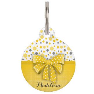 Grey and Yellow Polka Dots, Sunny Yellow Ribbon Pet Name Tag