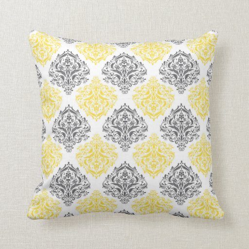Grey and Yellow Reversible Decorative Pillow Zazzle