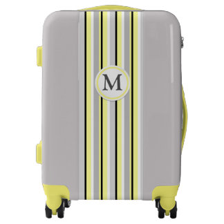Grey and Yellow Stripes Luggage