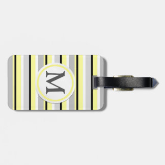 Grey and Yellow Stripes Luggage Tag