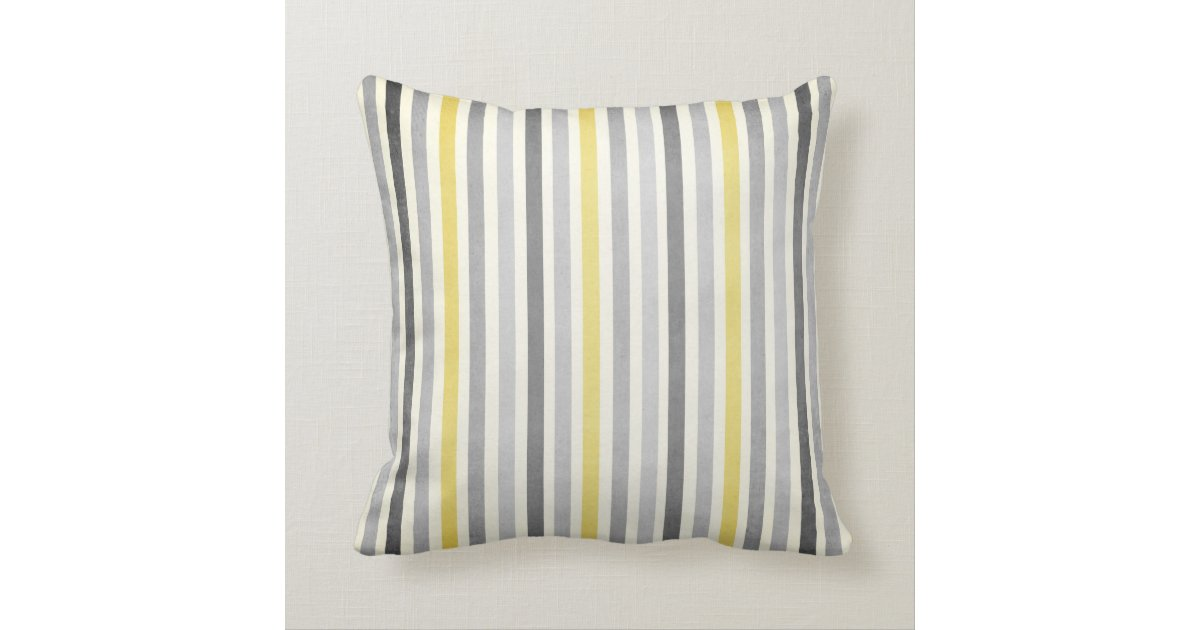 Yellow Striped Throw Pillows : Grey and Yellow Stripes Throw Pillow Zazzle