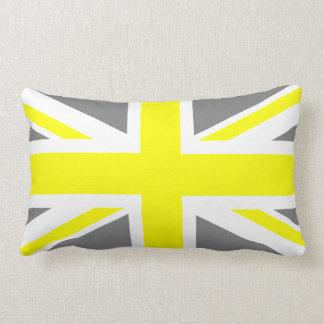 Grey and Yellow Union Jack Lumbar Pillow