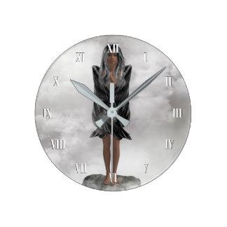 Grey Angel Wall Clock