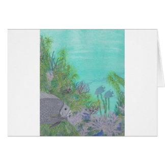 Grey Angelfish Blue Ocean Card