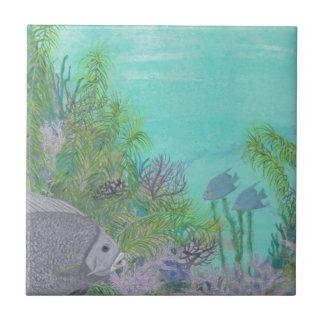 Grey Angelfish Blue Ocean Ceramic Tile
