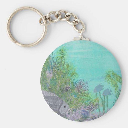Grey Angelfish Blue Ocean Key Chain