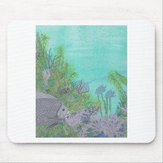 Grey Angelfish Blue Ocean Mousepads