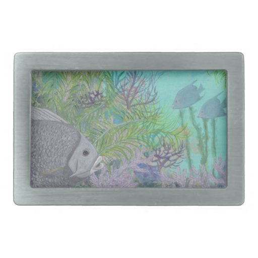 Grey Angelfish Blue Ocean Rectangular Belt Buckles