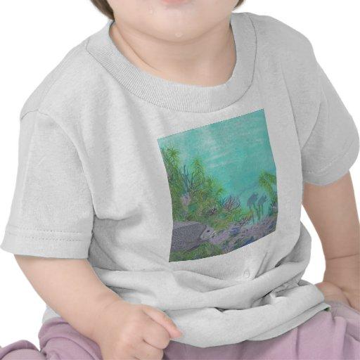 Grey Angelfish Blue Ocean Tee Shirts