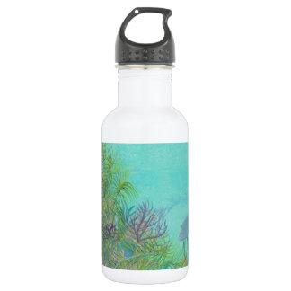 Grey Angelfish Blue Ocean Water Bottle