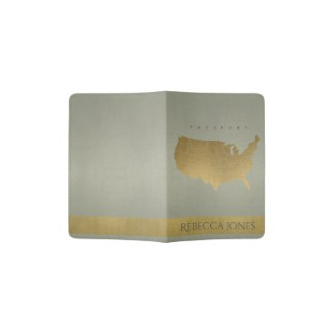 USA Themed GREY ANTIQUE GOLD USA MAP LEATHER MONOGRAM PASSPORT HOLDER