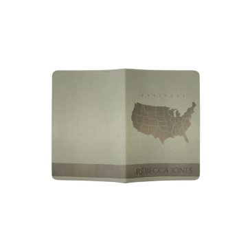 USA Themed GREY ANTIQUE SILVER USA MAP LEATHER MONOGRAM PASSPORT HOLDER