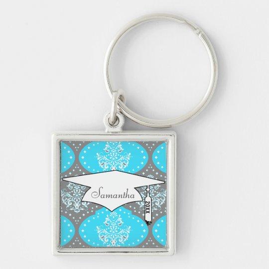 grey aqua blue white henna damask keychain