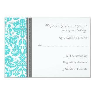 Grey Aqua Damask RSVP Wedding Card