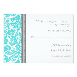 Grey Aqua Damask RSVP Wedding Card Personalized Invite
