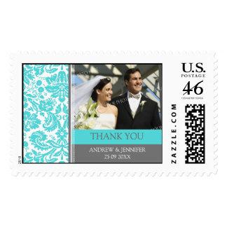 Grey Aqua Damask Thank You Wedding Stamps