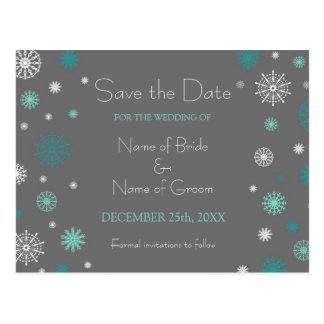 Grey Aqua Save the Date Winter Wedding Postcards