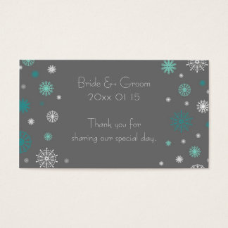 Grey Aqua Snowflakes Winter Wedding Favor Tags