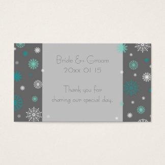 Grey Aqua Snowflakes Winter Wedding Favor Tags