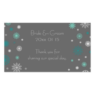 Grey Aqua Snowflakes Winter Wedding Favor Tags Business Card