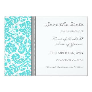 "Grey Aqua Wedding Save the Date Card 5"" X 7"" Invitation Card"
