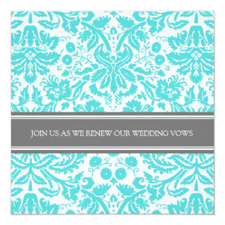 Grey Aqua Wedding Vow Renewal Invitation