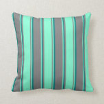 [ Thumbnail: Grey, Aquamarine, and Teal Colored Pattern Pillow ]