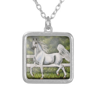 Grey Arabian Horse running Silver Plated Necklace