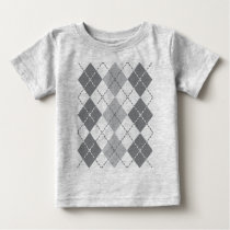 Grey Argyle Baby T-Shirt