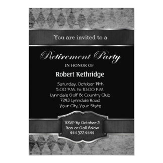 Grey Argyle Classic Retirement Party Invitations